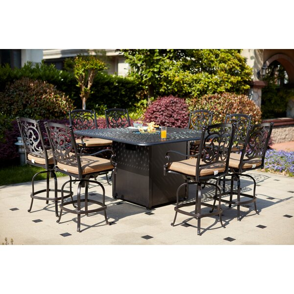 Baugh 9 Piece Bar Height Dining Set with Cushions and Firepit by Fleur De Lis Living