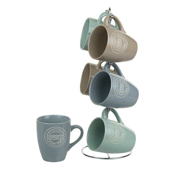 6 Piece Coffee Co Mug Set with Stand by Home Basics