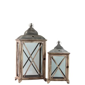 Wood Lantern with Cast Iron Top, Metal Handle, Glass and Sides Set of Two Distressed  Wood Finish