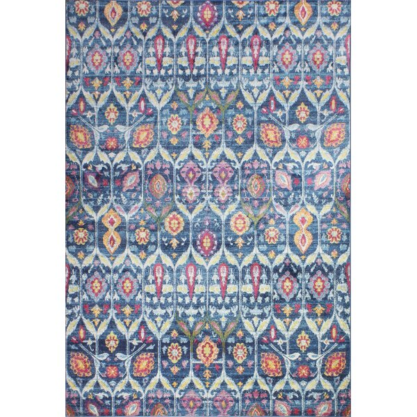 Goldie Navy Floral Area Rug by Bungalow Rose