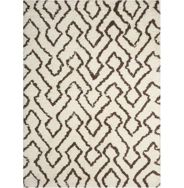 Hand-Tufted Ivory/Chocolate Area Rug by Mercury Row