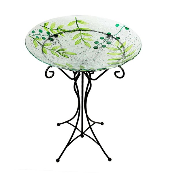 Glass Leaf and Berry Spring Outdoor Garden Birdbath by Northlight Seasonal