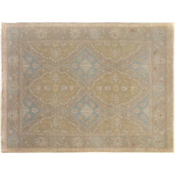 Xenos Hand-Knotted Wool Light Green/Light Gray Area Rug by Astoria Grand