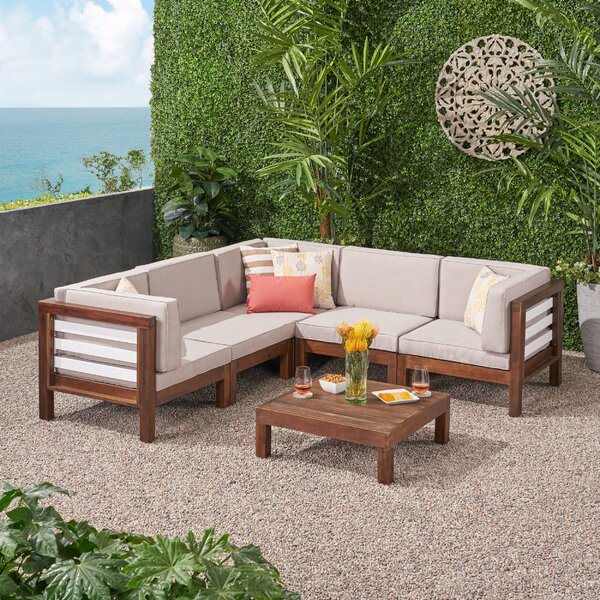 Parham  V-Shaped 6 Piece Sectional Seating Group with Cushions by Breakwater Bay