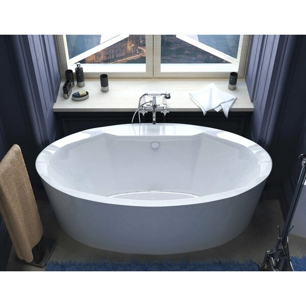 Salina 67.18 x 33.43 Oval Freestanding Air Jetted Bathtub with Center Drain by Spa Escapes