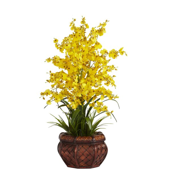Dancing Lady Silk Flower Arrangement in Yellow by Nearly Natural
