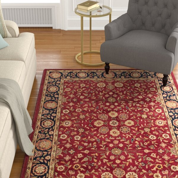 Cranmore Red/Black Floral Area Rug by Charlton Home