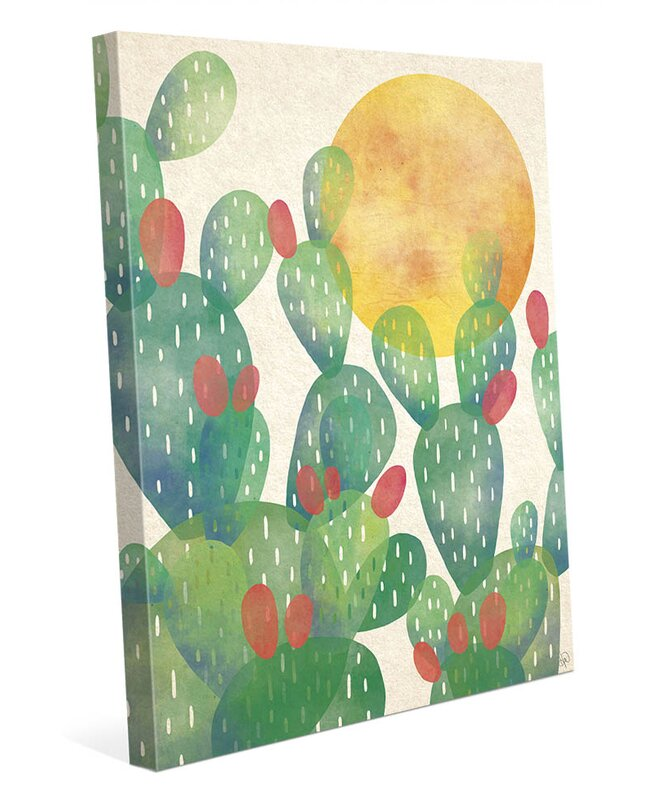 Watercolor Cactus Painting Print On Wrapped Canvas