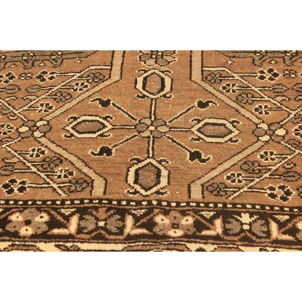 One-of-a-Kind Super Distressed Over Dyed Hand-Knotted Wool Brown/Ivory Area Rug by Bloomsbury Market