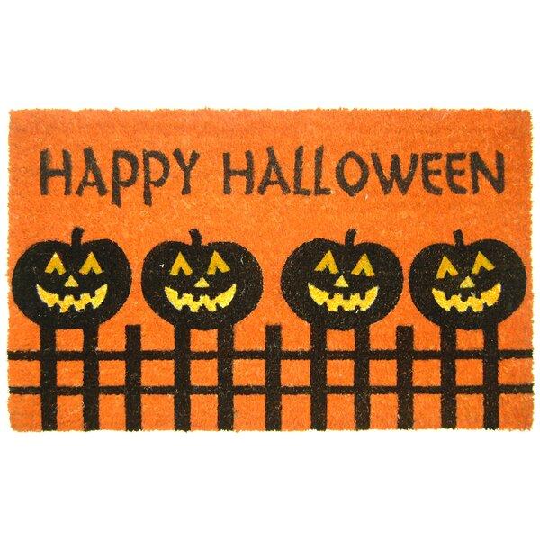 Halloween Pumpkin Fence Doormat by Geo Crafts, Inc