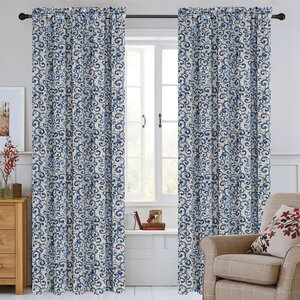Scroll Jacquard Damask Semi-Sheer Rod Pocket Curtain Panels (Set of 2)