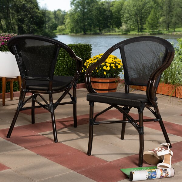 Tara Classic French Stacking Patio Dining Chair (Set of 2) by Bay Isle Home Bay Isle Home