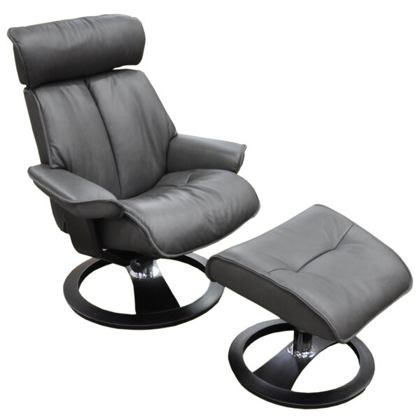 Santa Monica Ergo Leather Manual Swivel Recliner with Ottoman by Omnia Leather Omnia Leather