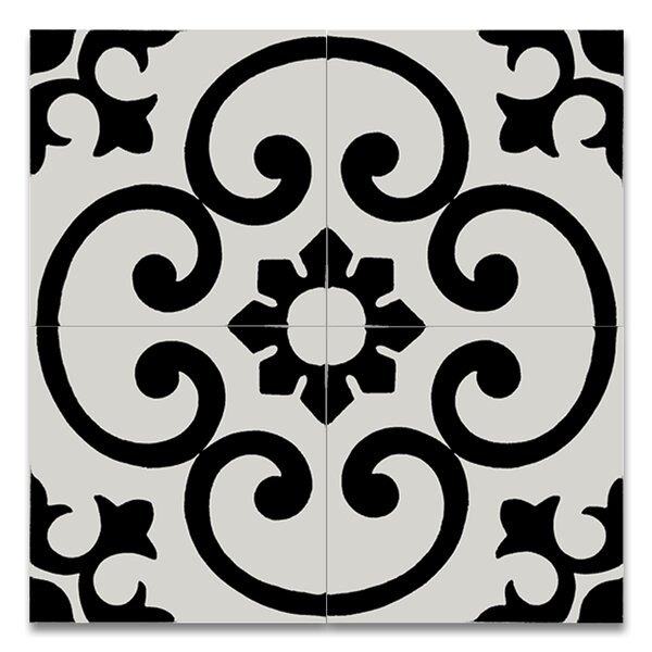 Orika 8 x 8 Handmade Cement Tile in Black and White by Moroccan Mosaic