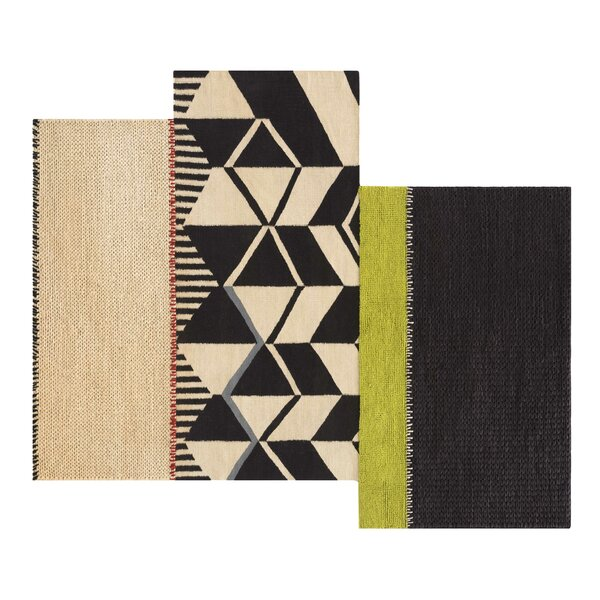Space Rustic Chic Hand-Woven Beige/Black Area Rug by GAN RUGS