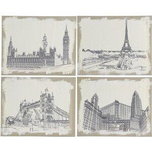 Burlap Cities 4 Piece Painting Print Set by Three Posts