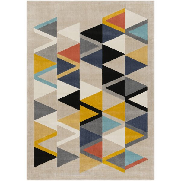 Huerta Modern Geometric Cream Area Rug by Wrought Studio