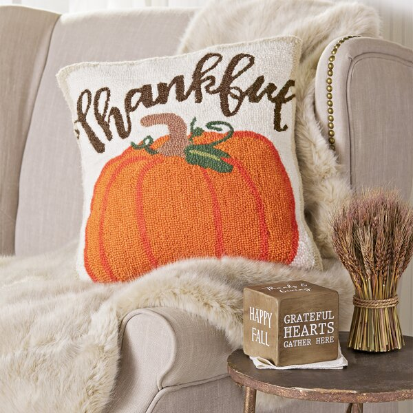 Thankful Pumpkin Hooked Wool Throw Pillow by Mud Pie™