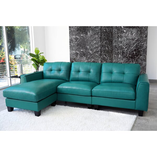 Epstein Leather Reversible Sectional by Red Barrel Studio
