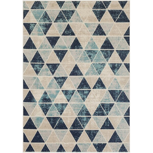 Huerta Geometric Aqua/Charcoal Area Rug by Wrought Studio