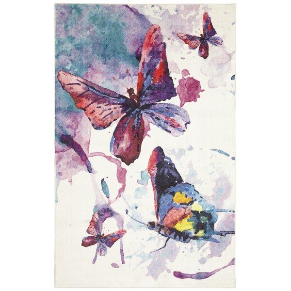 Engler Watercolor Butterflies Purple/White Area Rug by Zoomie Kids