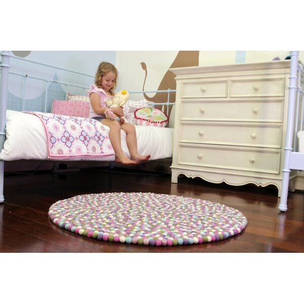 Happy as Larry Sorbet Felt Ball Kids Rug by Walk On Me
