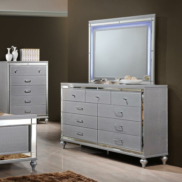 Valencia 9 Drawer Double Dresser with Mirror by Willa Arlo Interiors