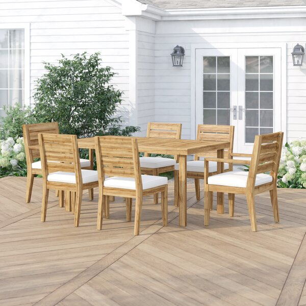 Denholme 7 Piece Dining Set with Cushions by Three Posts
