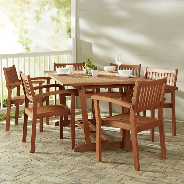 Amabel 7 Piece Slatted Dining Set by Beachcrest Home