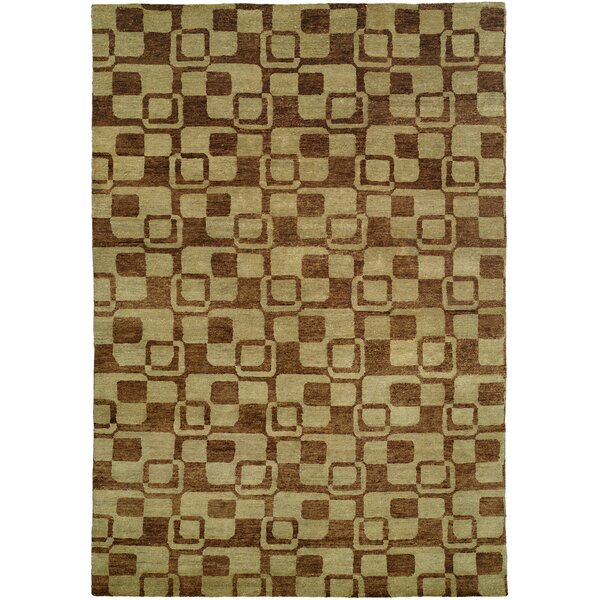 Minh Hand-Knotted Gold/Brown Area Rug by Wildon Home ®