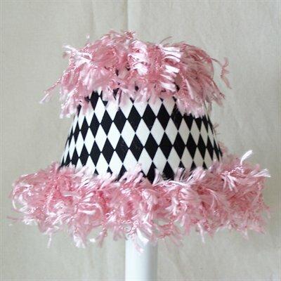 Diamond Daze 7 H Fabric Empire Lamp Shade ( Screw On ) in Pink/Black