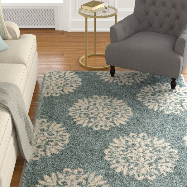 Castor Exploded Medallions Slate Blue Area Rug by The Twillery Co.