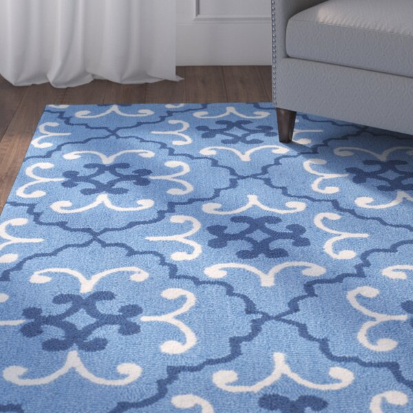 Anacortes Hand-Hooked Blue/Ivory Area Rug by Red Barrel Studio