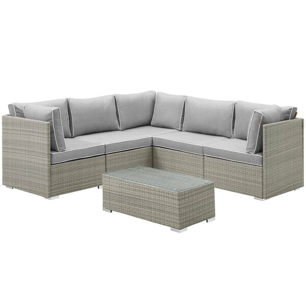 Heinrich Outdoor Patio 6 Piece Rattan Sectional Seating Group with Sunbrella Cushions by Highland Dunes Highland Dunes