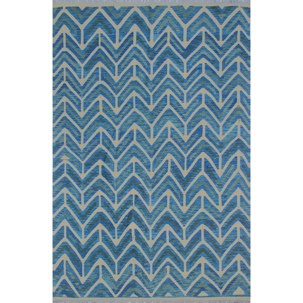 Galen Kilim Hand Woven Wool Blue Area Rug by Brayden Studio