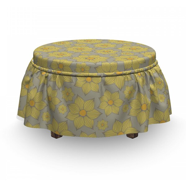 Doodle Petals Ottoman Slipcover (Set Of 2) By East Urban Home