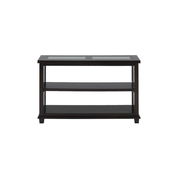 Rashad Glass Inserted Wooden Media Console Table By House Of Hampton