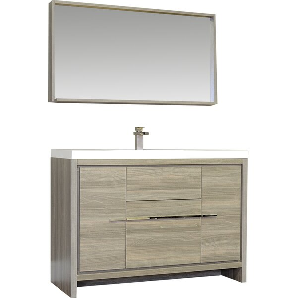 Waldwick 48 Single Modern Bathroom Vanity Set with Mirror by Wade Logan