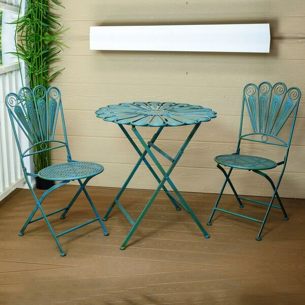Segars Peacock Feather 3 Piece Bistro Set by August Grove