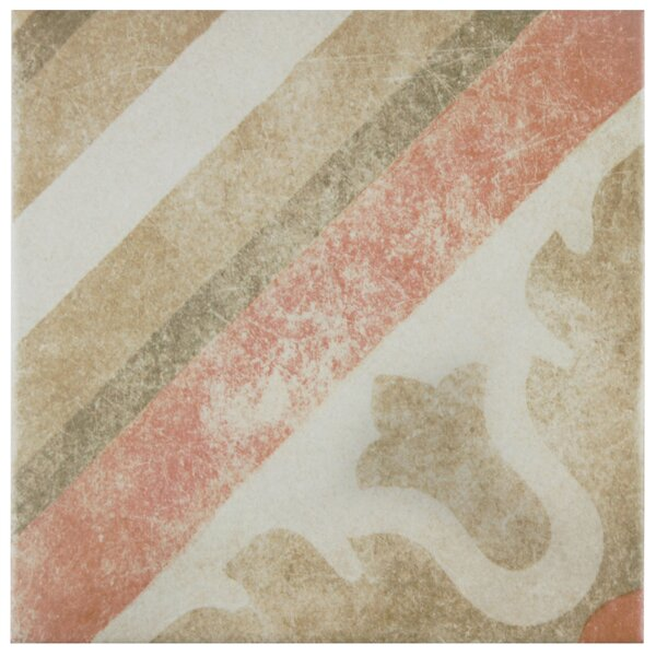 Bartolo 9.5 x 9.5 Porcelain Field Tile in Green/Red/Off-White by EliteTile