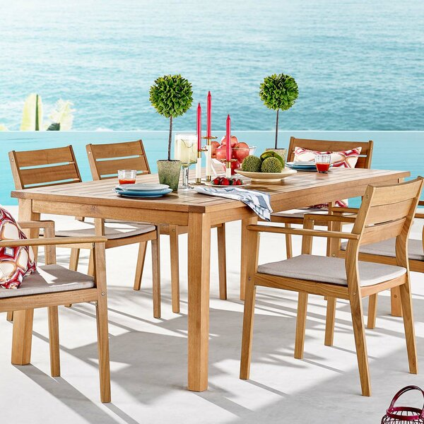 Koa 2 Piece Teak Dining Set with Cushions by Rosecliff Heights