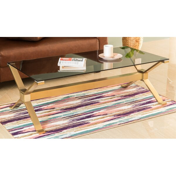 Rectangular Gold Stainless Steel Metal Smoked Glass Modern Coffee Table By Everly Quinn