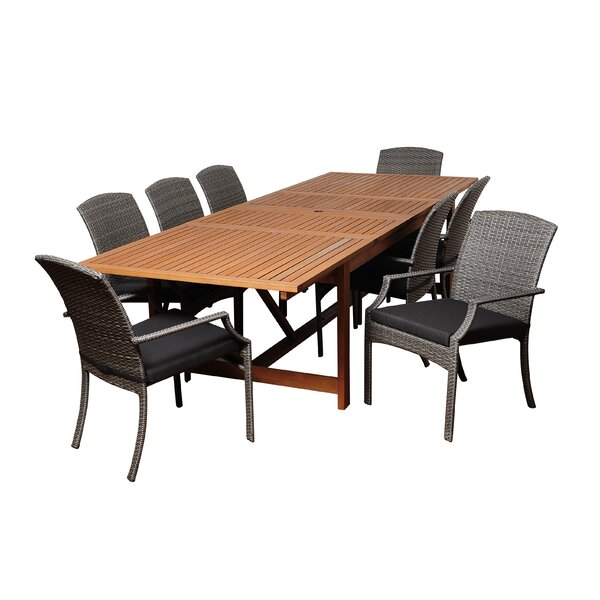 Bridgepointe Eucalyptus Traditional 9 Piece Dining Set by Rosecliff Heights