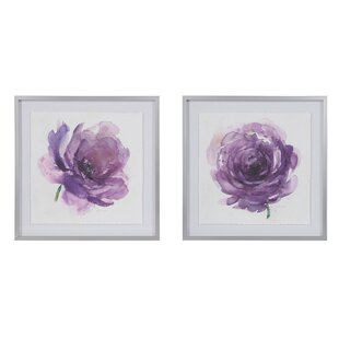 u0027Purple Ladies Roseu0027 2 Piece Framed Watercolor Painting Print Set on Paper  sc 1 st  Wayfair & Purple Wall Art Youu0027ll Love | Wayfair