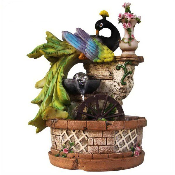 Resin Elegant Peacock Resting on Ivy Column with Water Wheel Tabletop Fountain by Sintechno