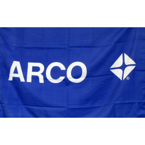 Arco Gas Oil Logo With Words Polyester 2 X 3 House Flag By Neoplex.