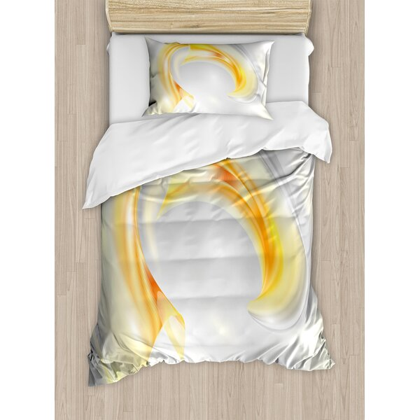 Abstract Modern Futuristic Wavy Image Ombre Design Art Print Duvet Set by Ambesonne