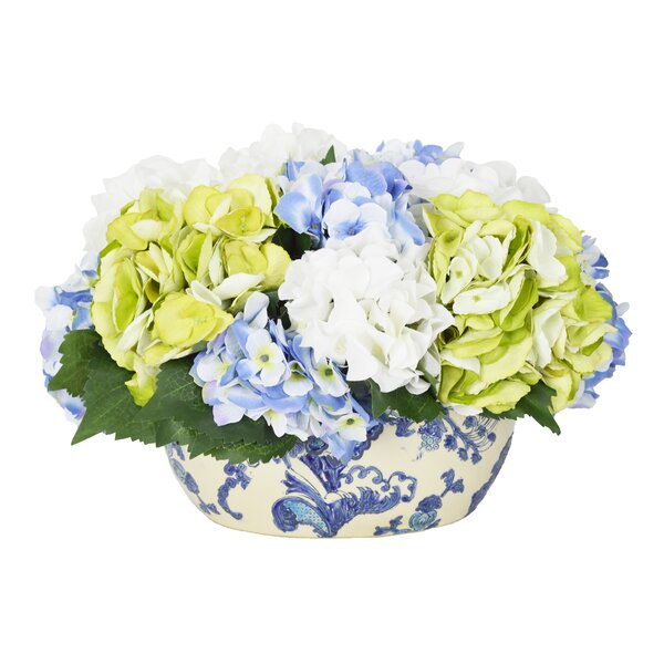 Hydrangea Centerpiece in Planter by Darby Home Co