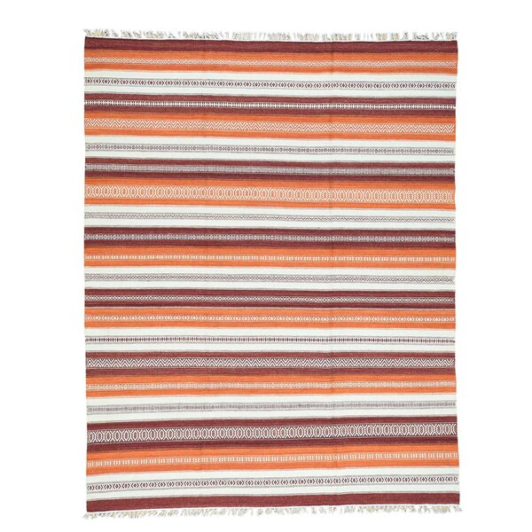 Striped Kilim Flat Weave Oriental Hand-Knotted Orange/White Area Rug by Bloomsbury Market