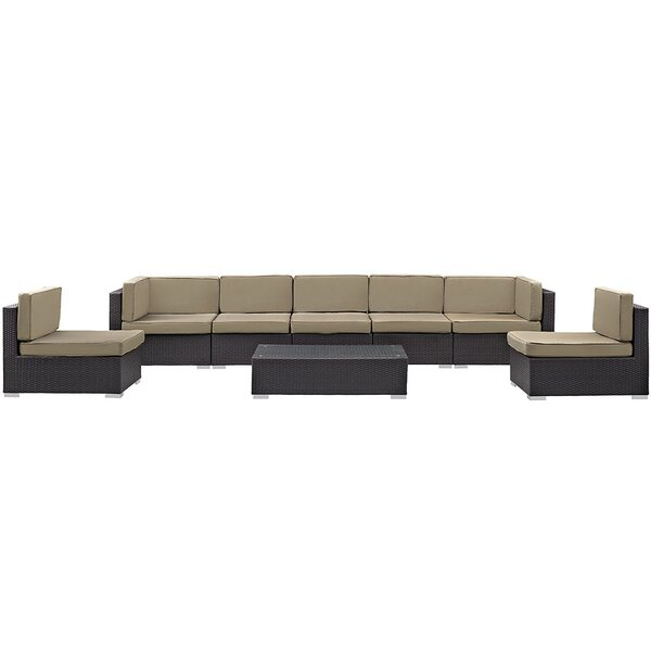 Ryele 8 Piece Rattan Sectional Set with Cushions by Latitude Run